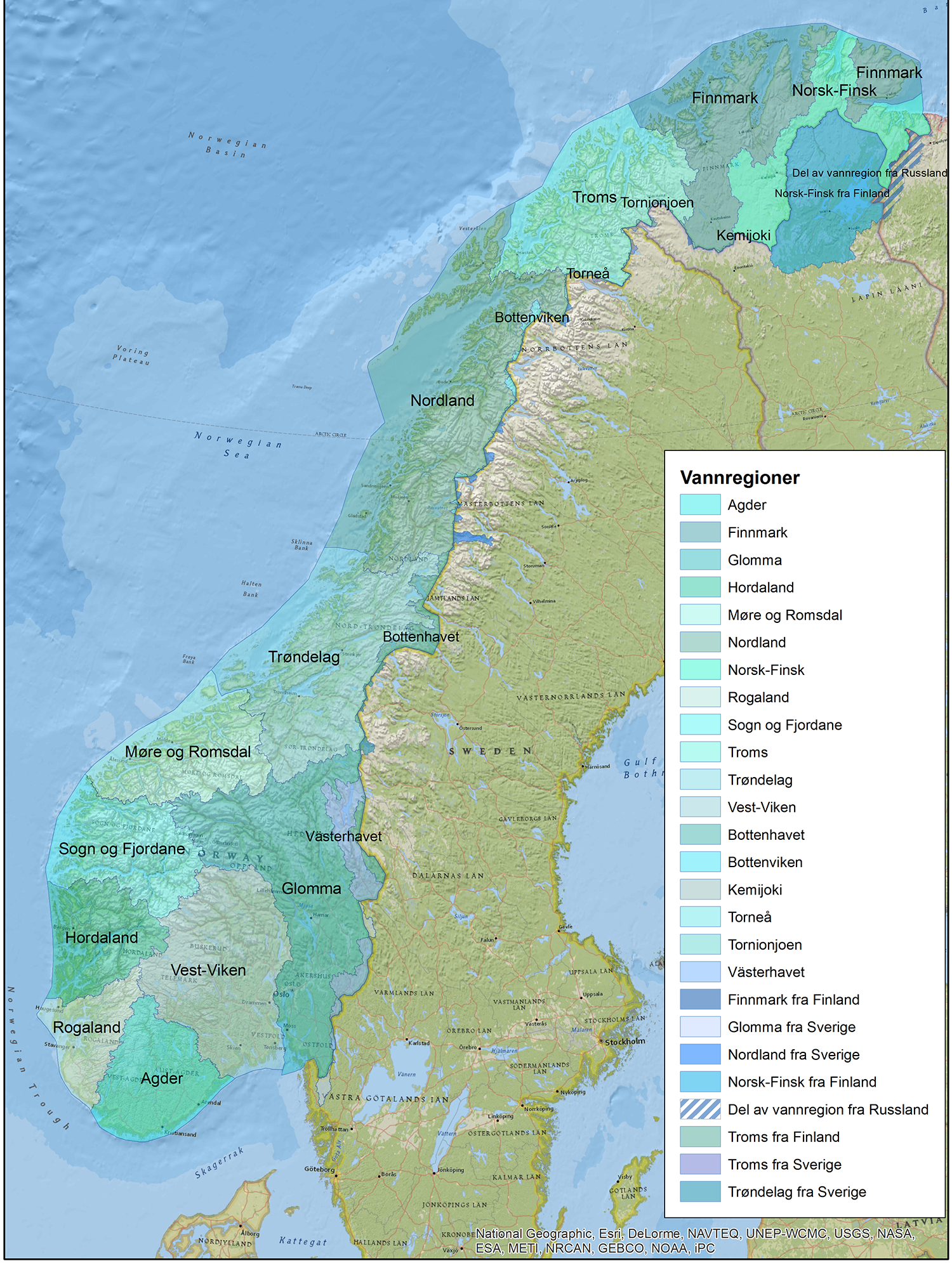 Implementation Of River Basin Management Plans Norway - Norway map rivers