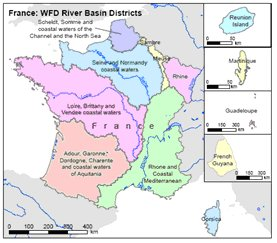 Districts Of France Map.Implementation Of River Basin Management Plans France