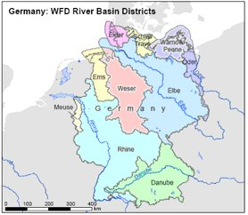 Rivers Map Europe.Implementation Of River Basin Management Plans Germany