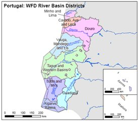 Implementation Of River Basin Management Plans Portugal - Portugal map districts