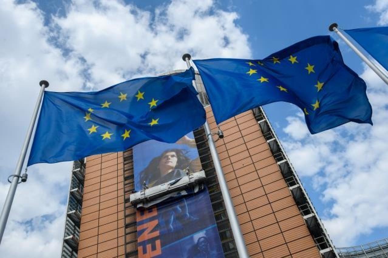 Flags in front of Berlaymont building