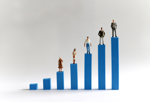 Image with people on bar chart