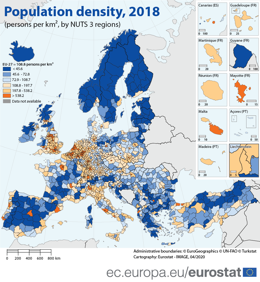 Infographic: Population density, 2018 (persons per square kilometre, by NUTS 3 regions)