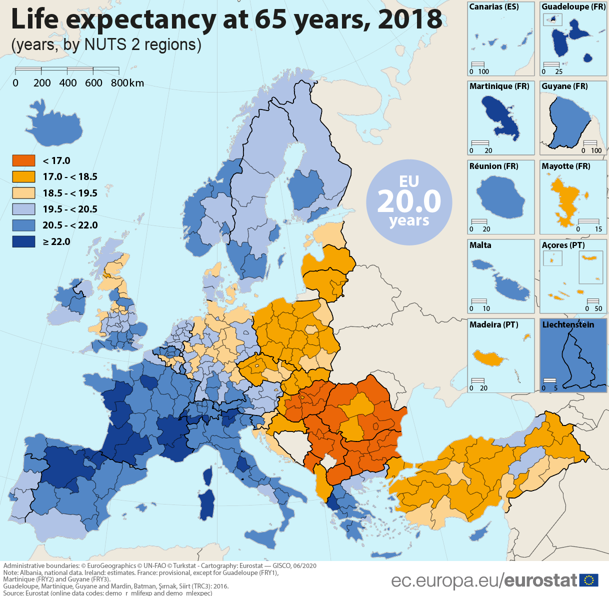 Life expectancy at 65 across EU regions, 2018