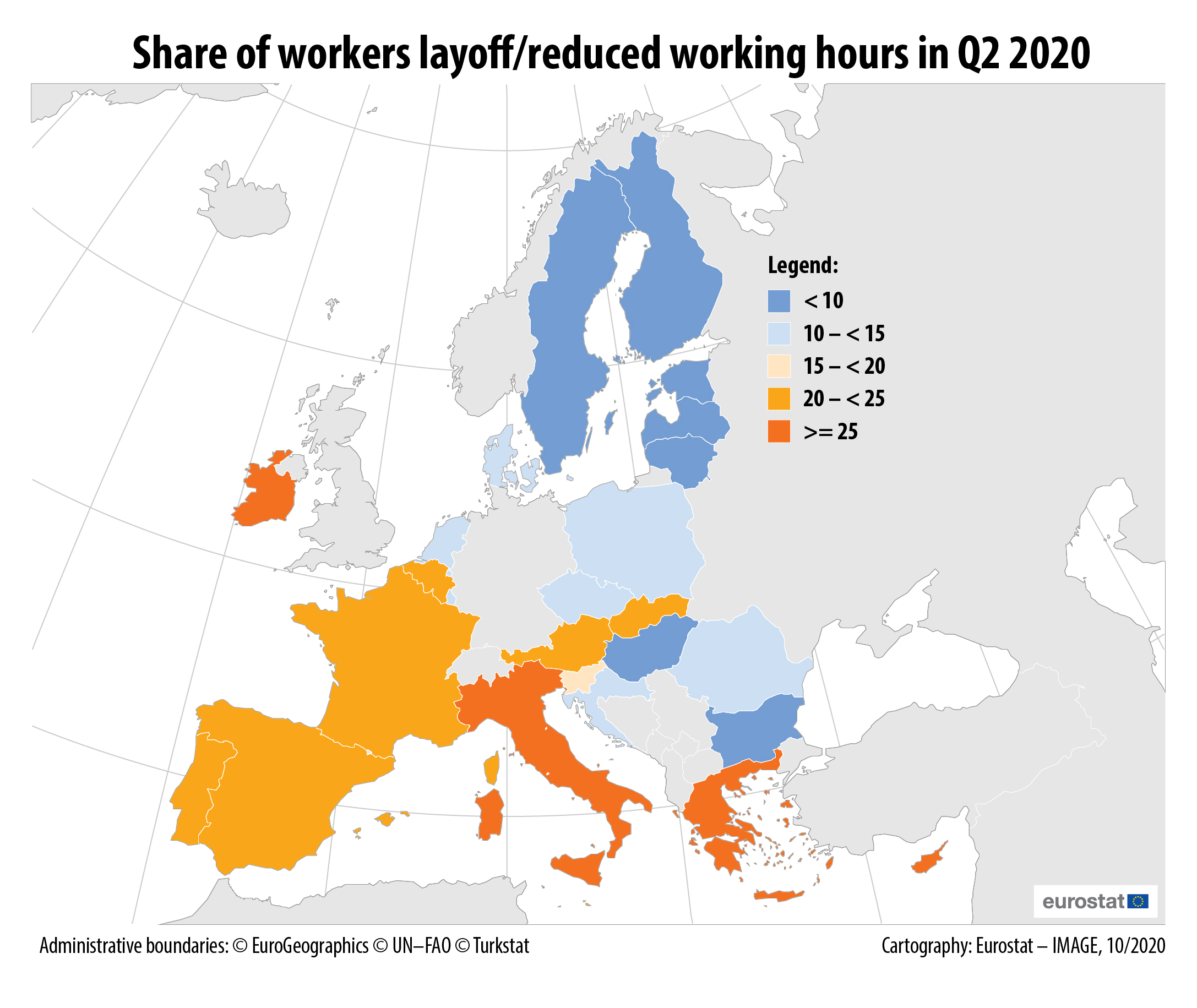 Share of workers with layoff or reduced working hours in Q2 2020