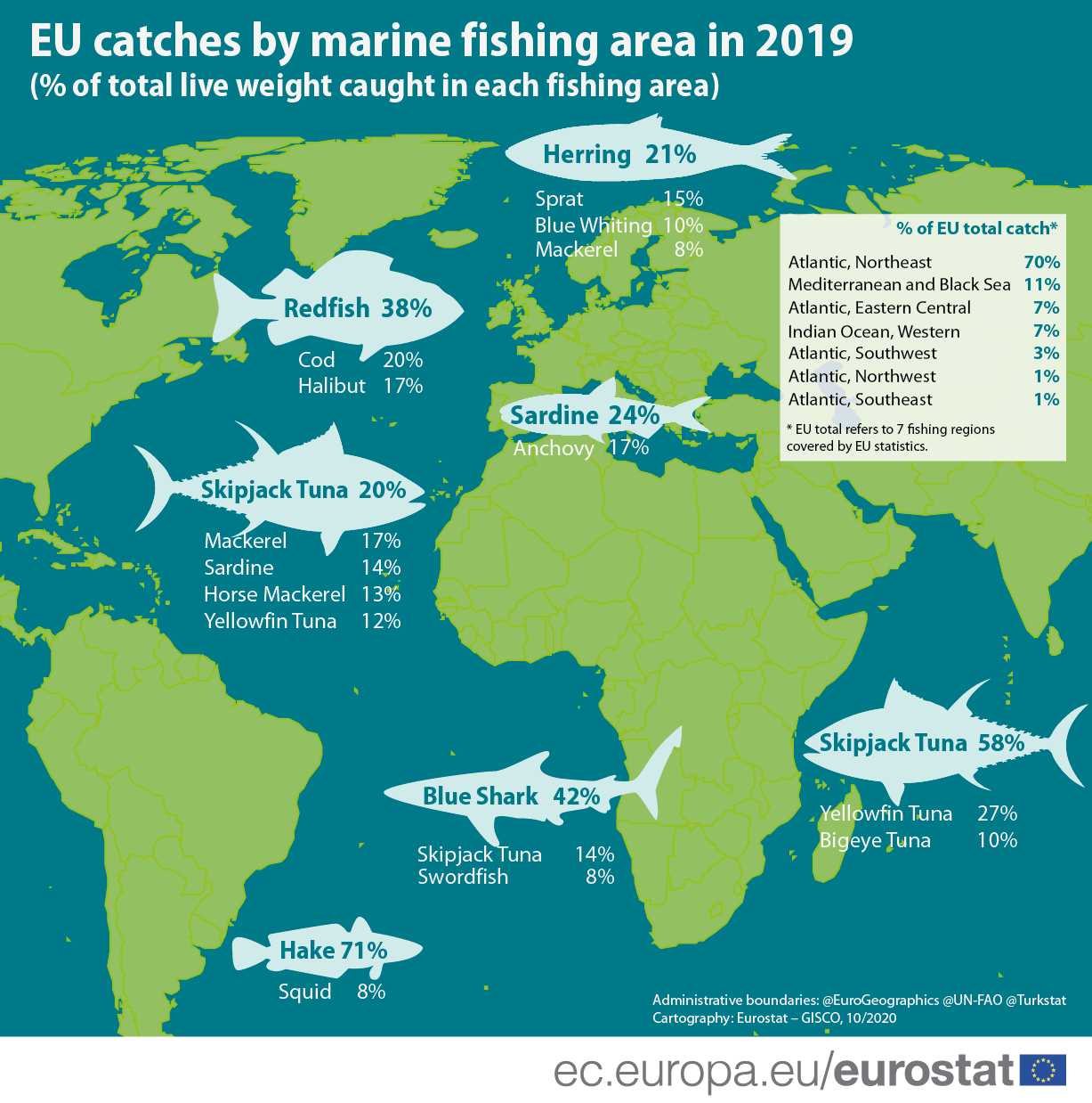 Infographic: EU catches by marine fishing area in 2019