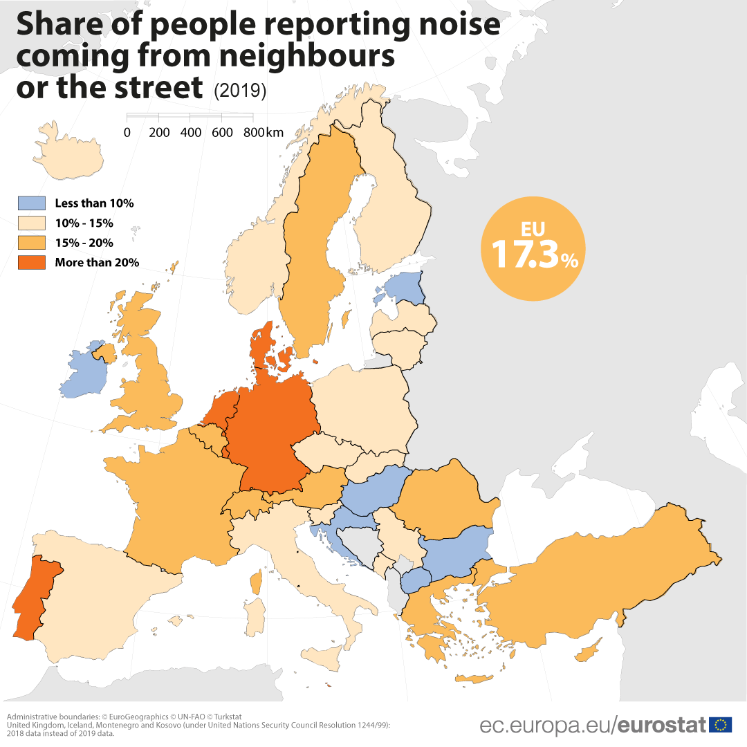 Share of people reporting noise from neighbours or the street (2019)