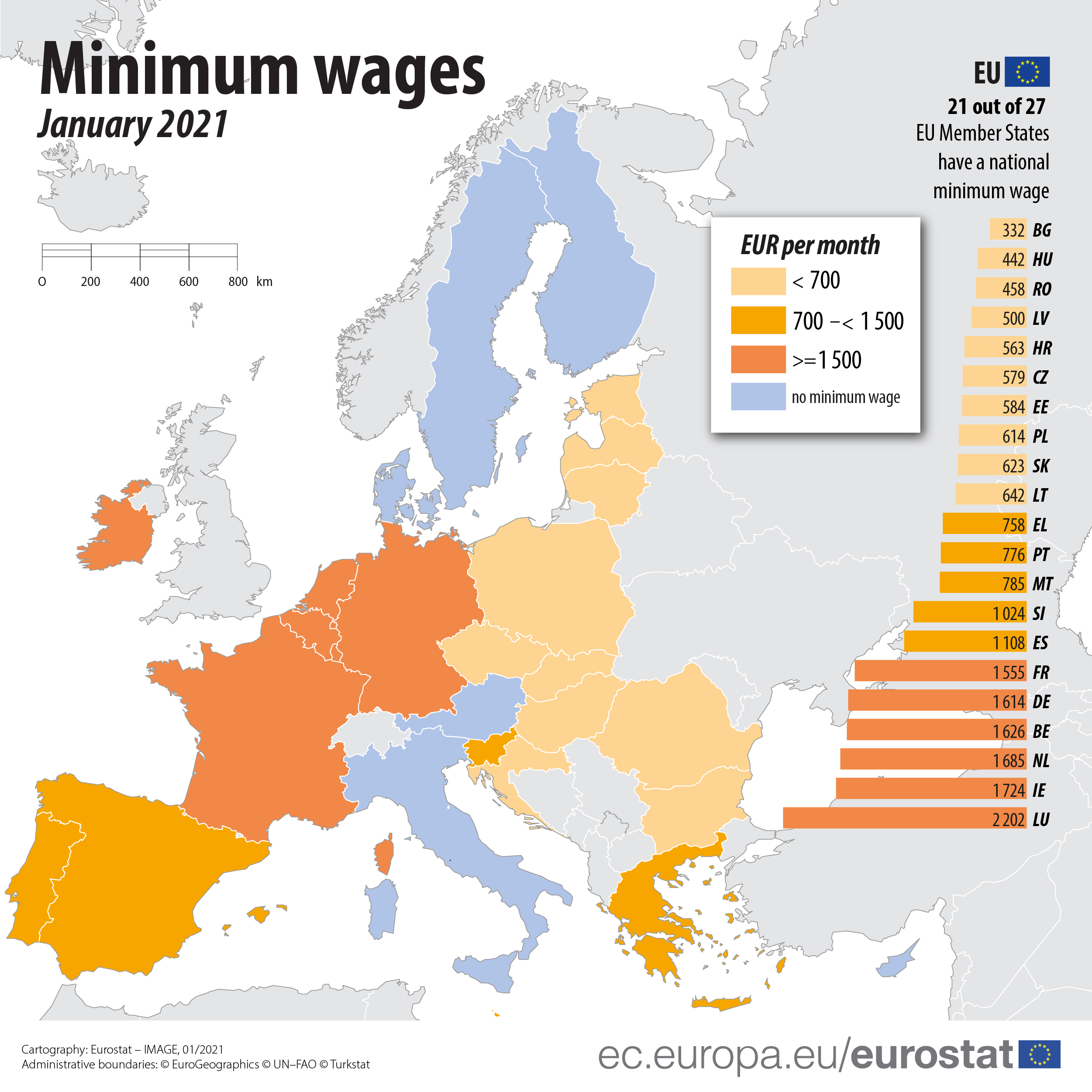 Minimum wages January 2021 map