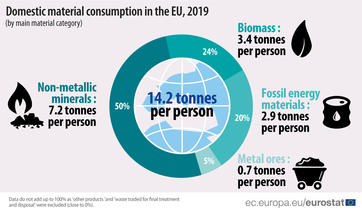 Domestic material consumption in the EU, by material category, 2019