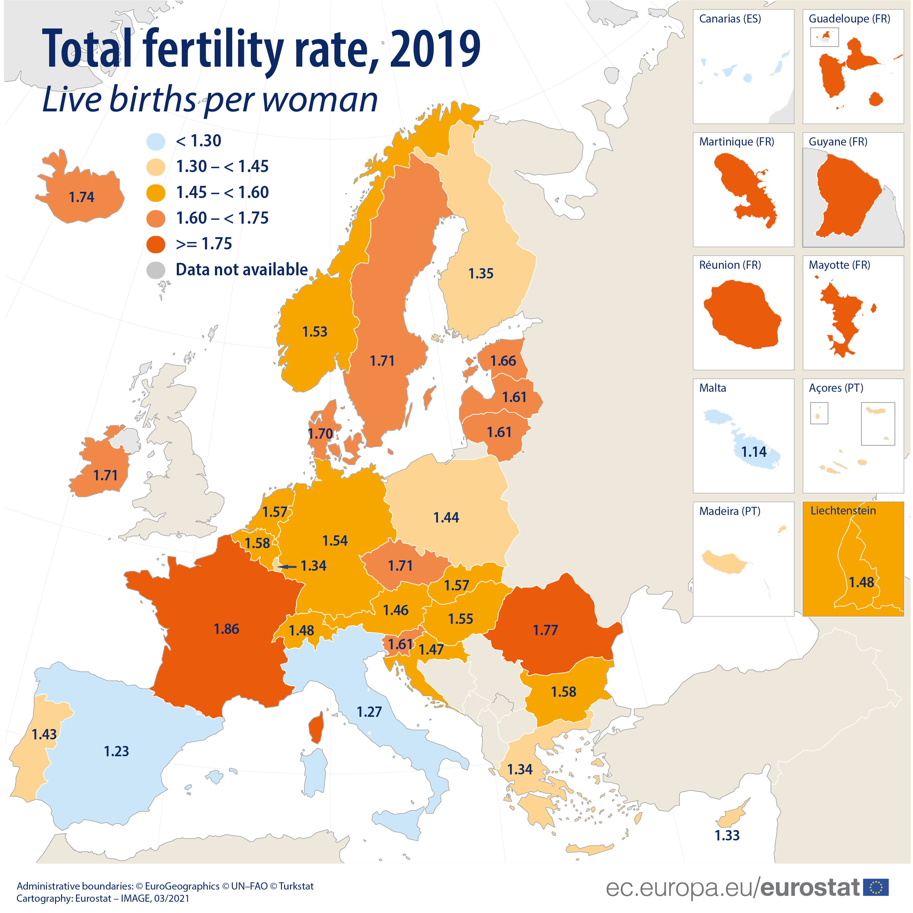 Total fertility rate per EU and EFTA country, 2019 data, map of Europe