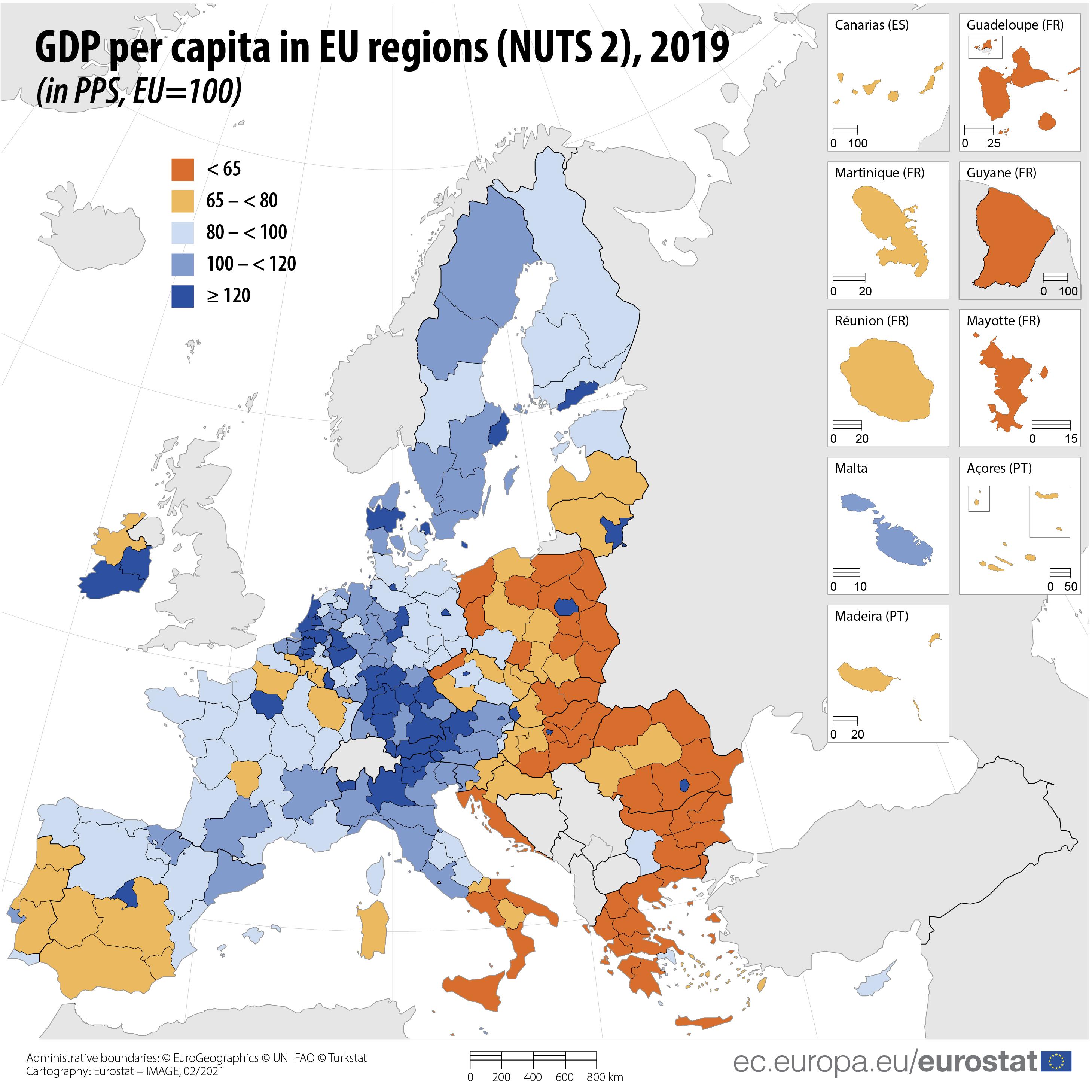 GDP per capita across EU regions, 2019
