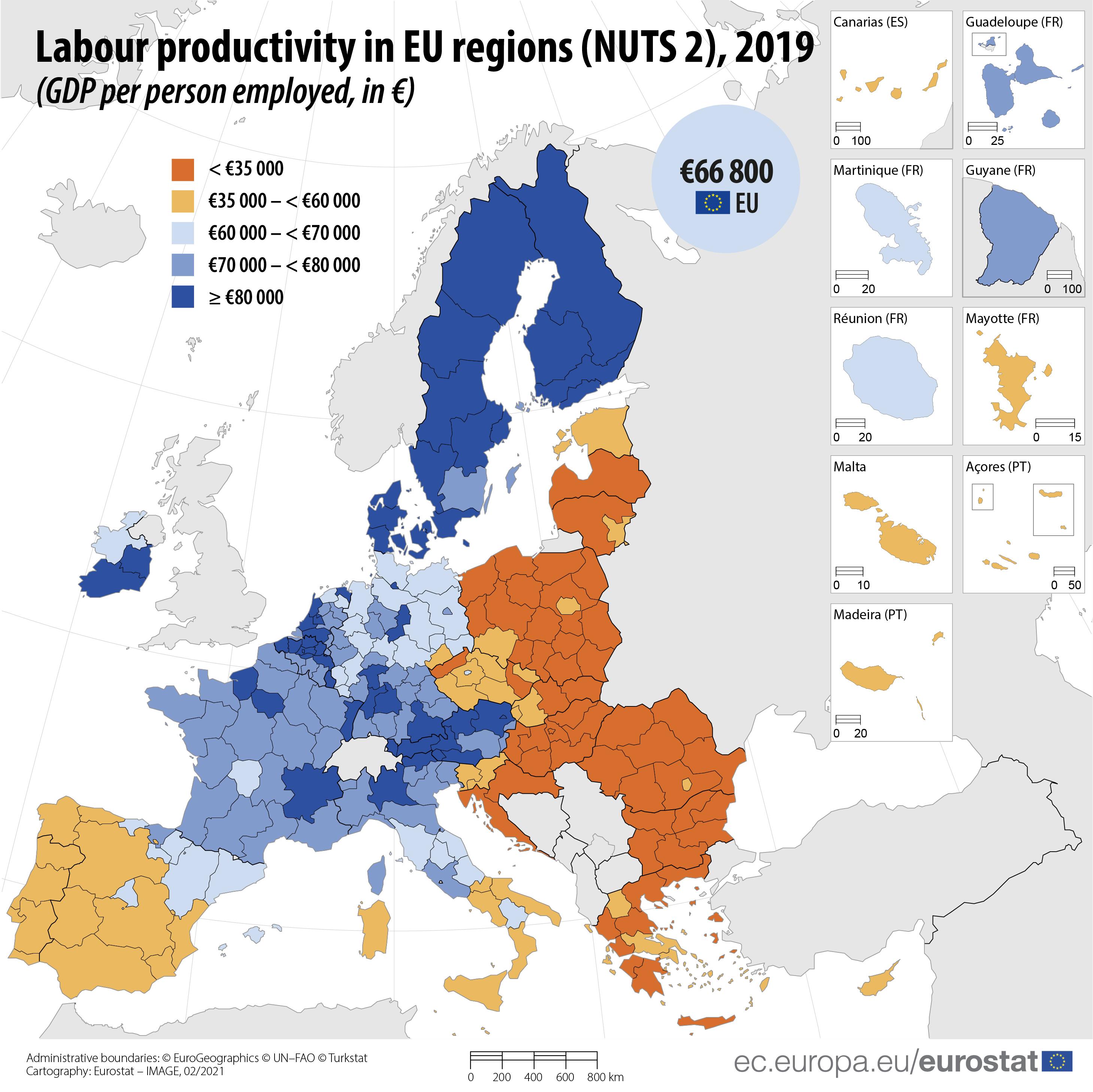 Labour productivity across EU regions, 2019