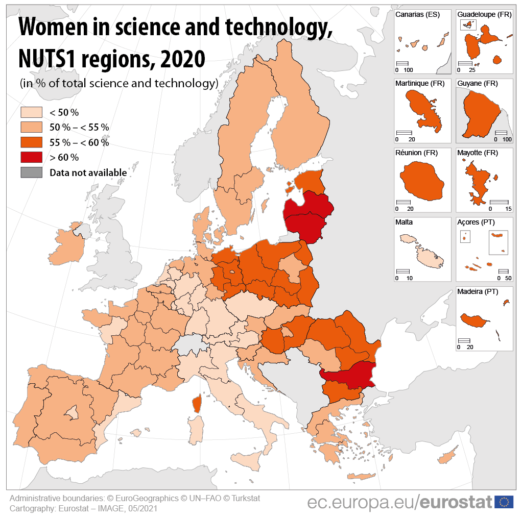 Map: women in science and technology