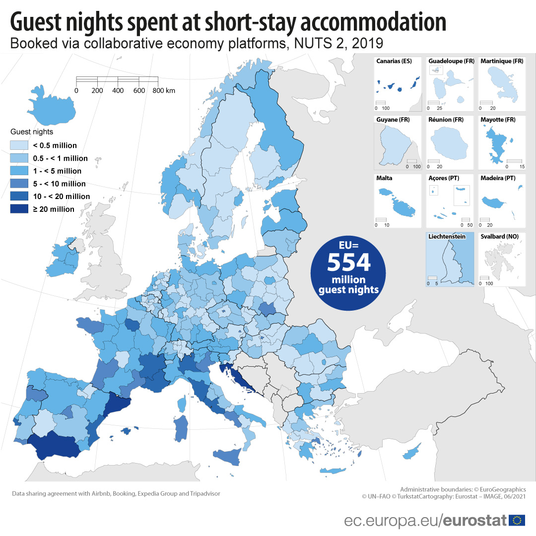 Regional map on short-stay accommodation booked via collaborative platforms in 2019