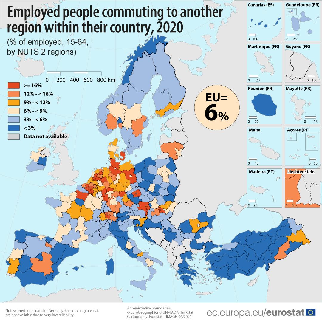 Commuting between regions in 2020