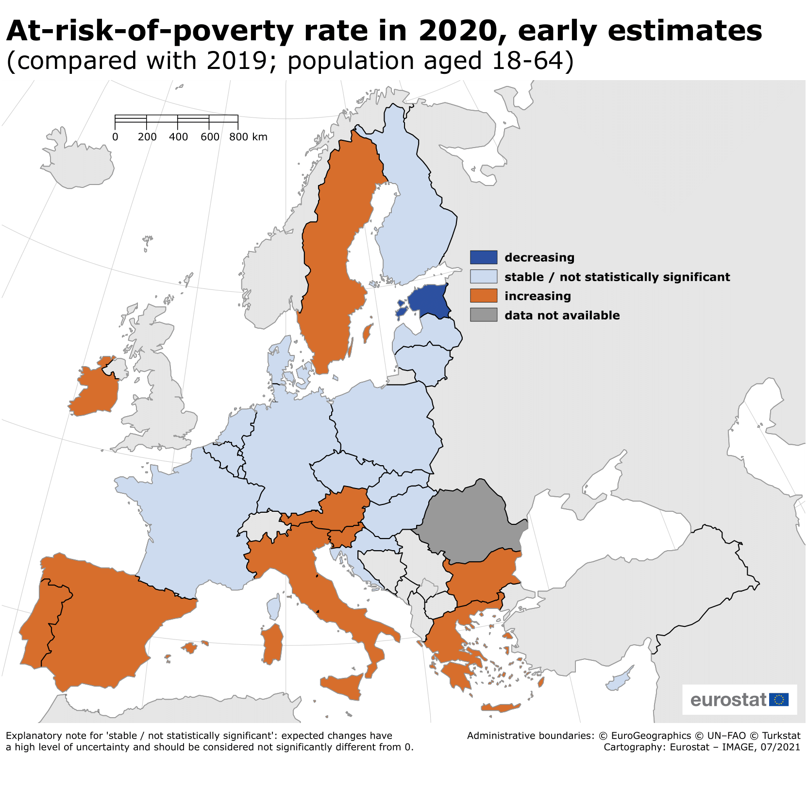 At-risk-of-poverty rate in the EU Member States, 2020 compared with 2019