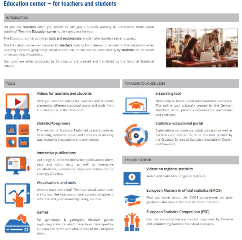 Screenshot: education corner dedicated page