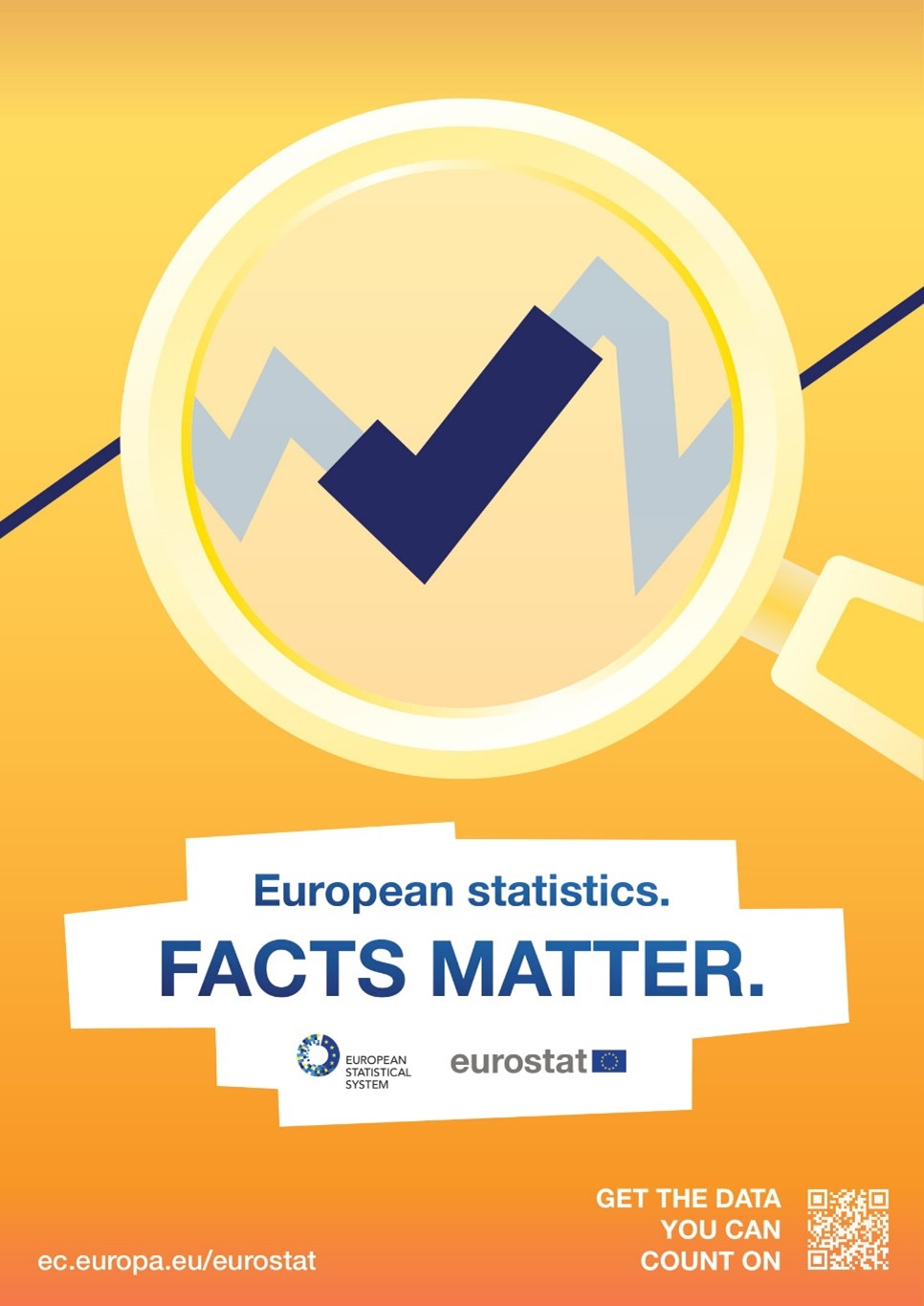 """Poster promoting Eurostat statistics with the text """"European Statistics. Facts matter."""""""