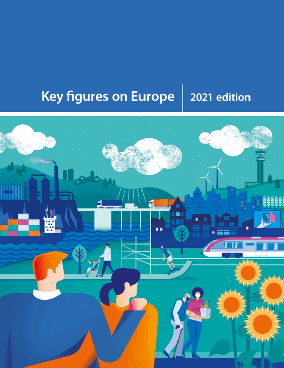 Screenshot of cover of key figures on Europe, 2021