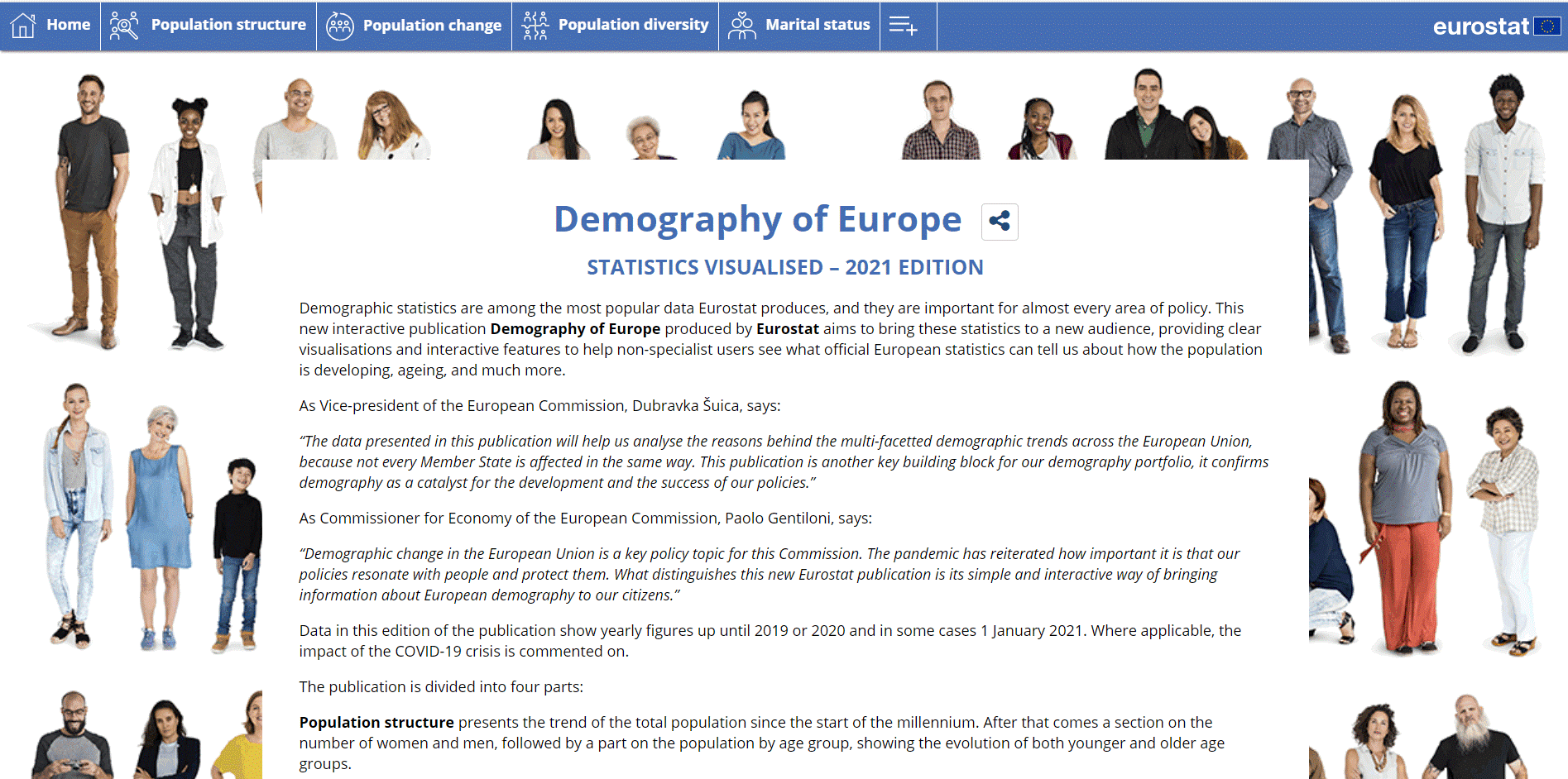 Cover page of interactive publication on demography of the EU