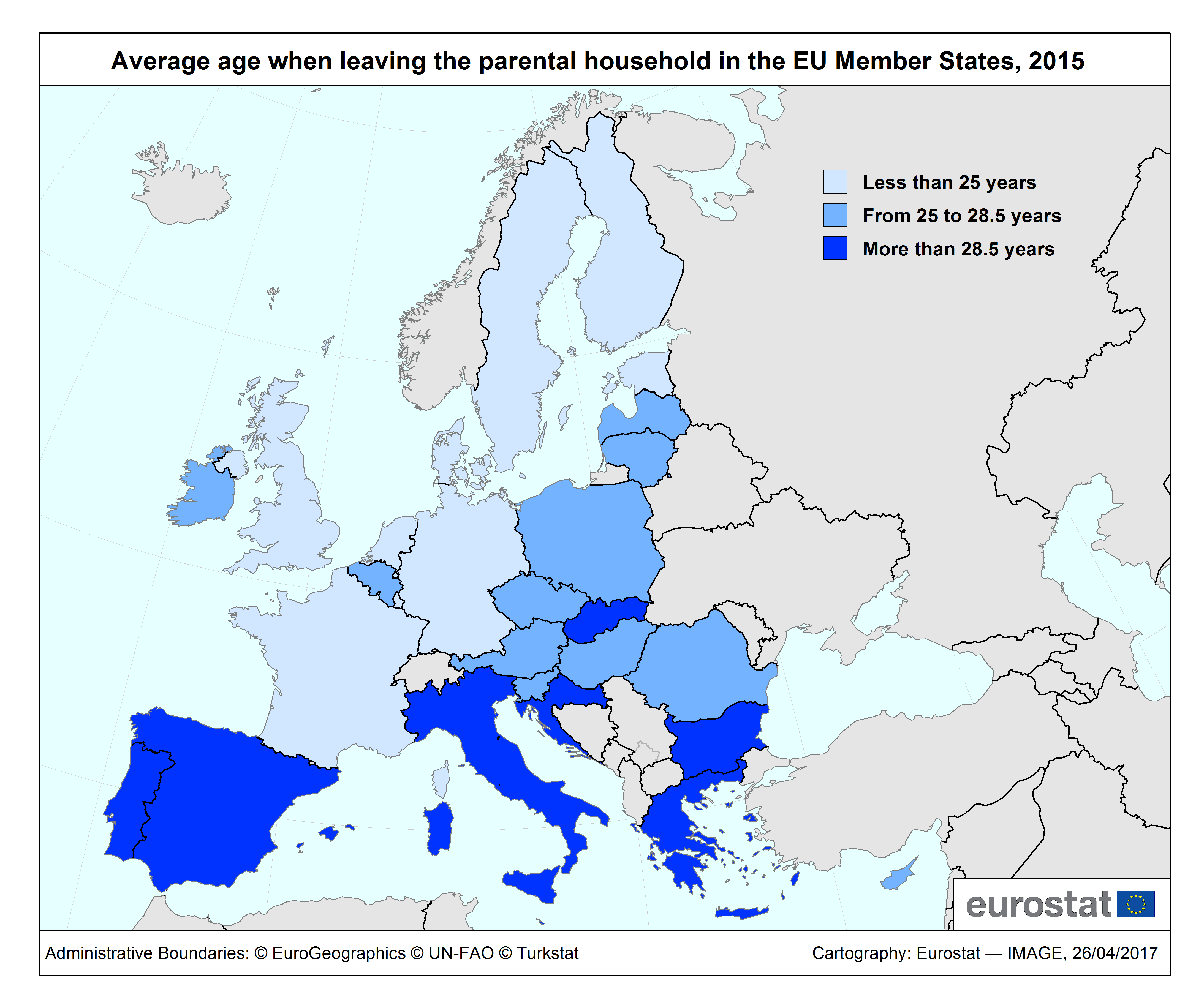 Map: Average age when leaving the parental household in the EU Member States, 2015