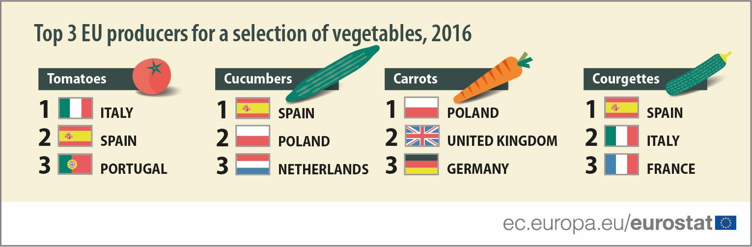 Top 3 EU producers for a selection of vegetables, 2016