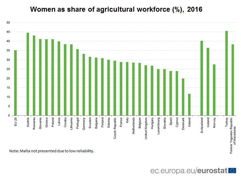 Women as share of agricultural workforce (%), 2016