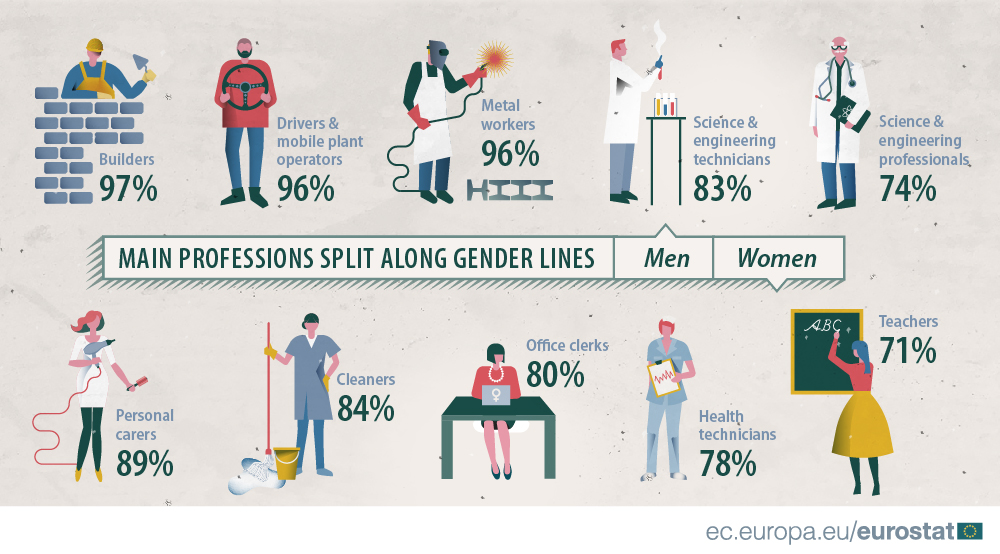 Infographics on main professions split along gender lines, 2016
