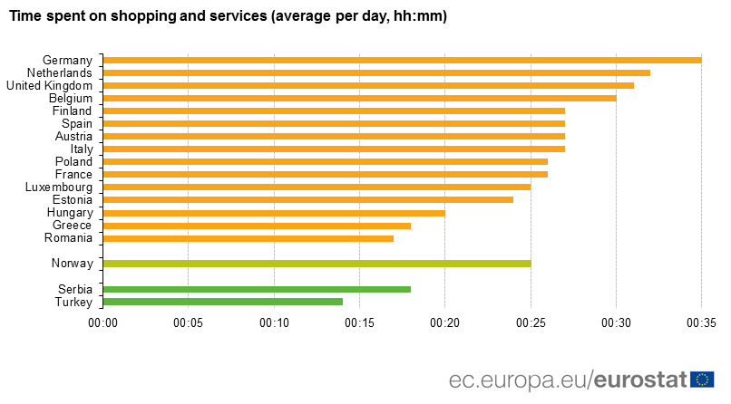 Average time per day spent on shoppin and services
