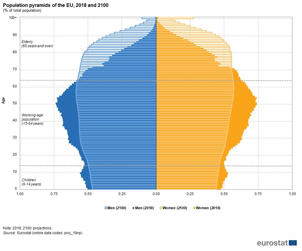 Population pyramid, 2018 2100
