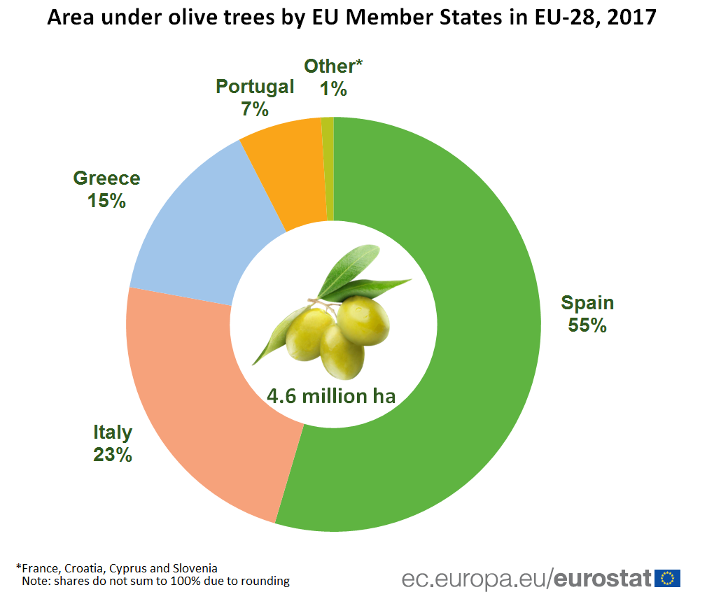 Pie chart showing shares of area under olive trees by Member States