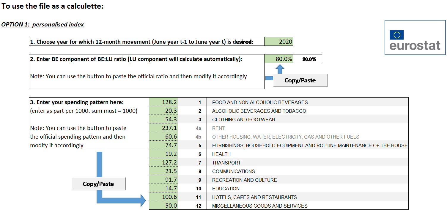 Screenshots of opening menus: JBLI tool (personalised index)