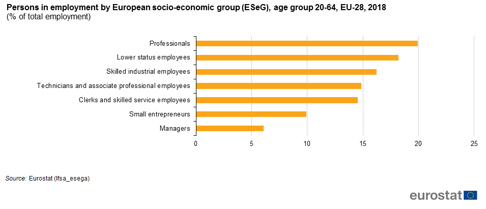 File:Persons in employment by European socio-economic group (ESeG), age group 20-64, EU-28, 2018.png