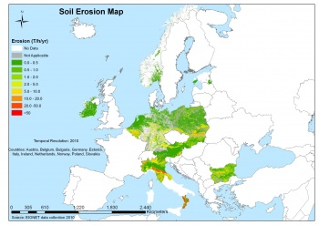 Map 10 Soil Erosion Maps As Collected Through The Eionet Soil Network Tonnes Per Ha Per Year 2010 Be Bg De Ee Ie It Nl At Pl Sk And No