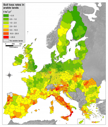 Map 3 Mean Soil Erosion Rates At Nuts 3 Level For Arable Lands Tonnes Per Ha Per Year 2010 Eu 28 Source Joint Research Centre Euan Commission