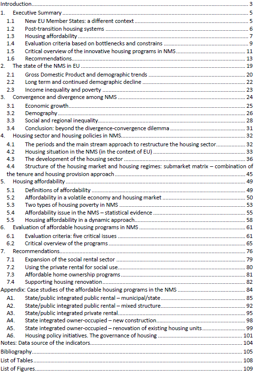 Table of content of the research report on Affordable Housing in Central and Eastern Europe