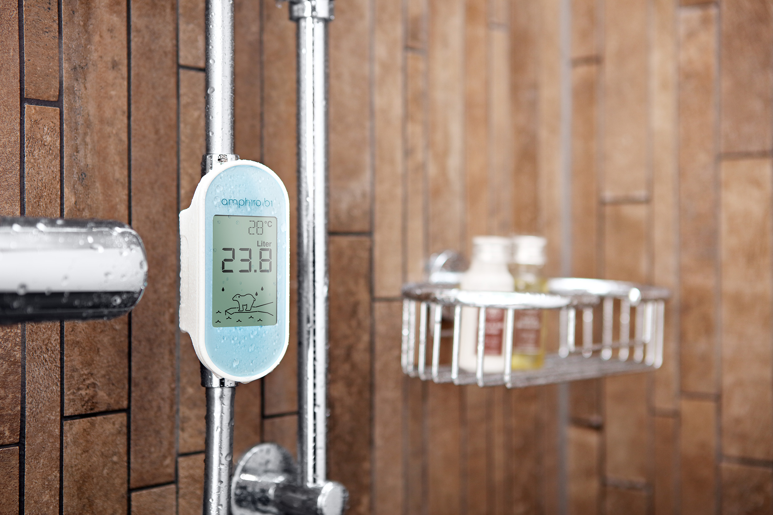Image of smart shower monitor indicating water temperature and consumption