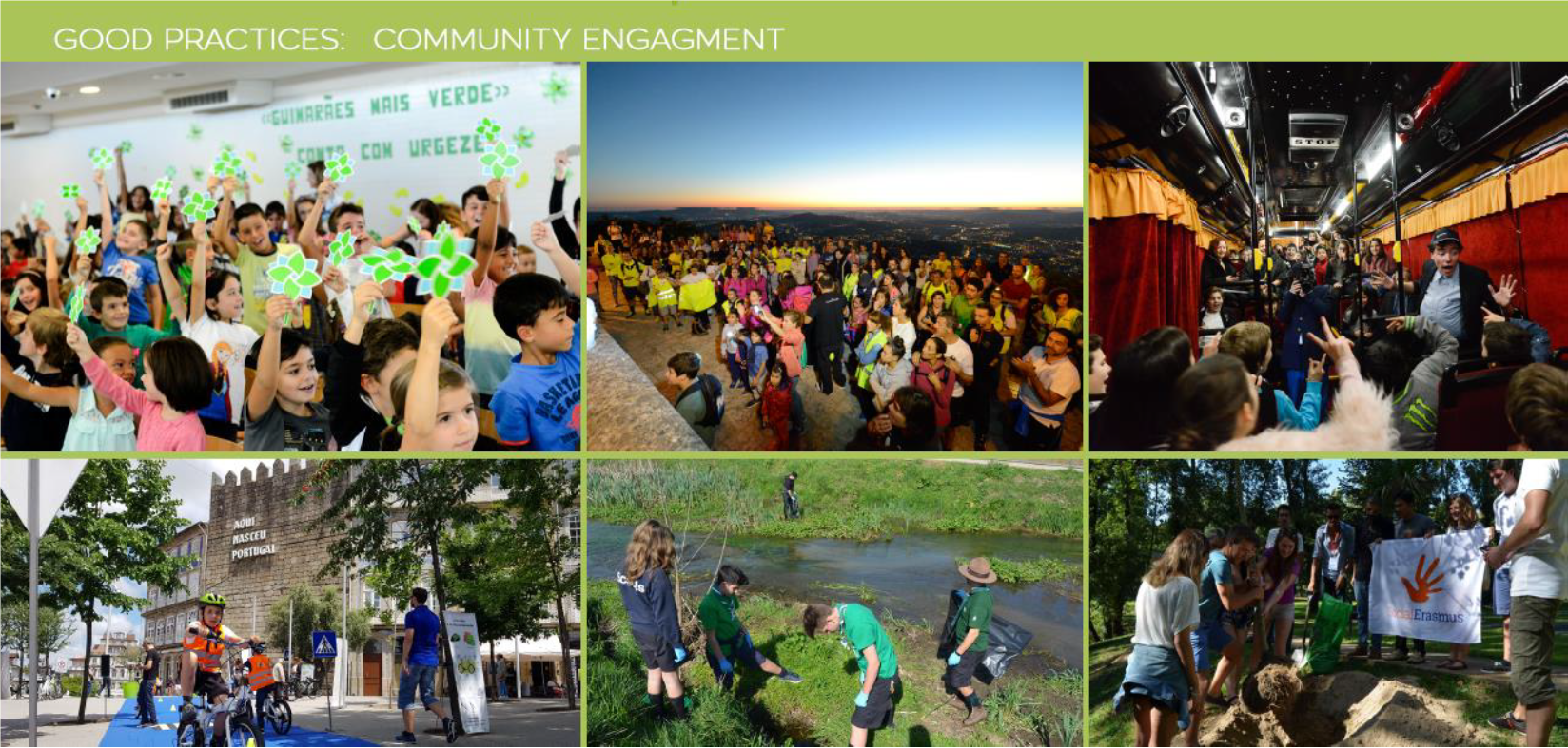 Pictures of kids from Guimarães showing community engagement