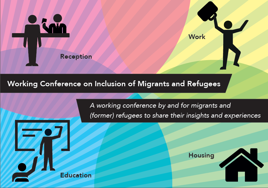 Flyer of the upcoming conference on inclusion of migrants and refugees in Amsterdam on 17 May 2017