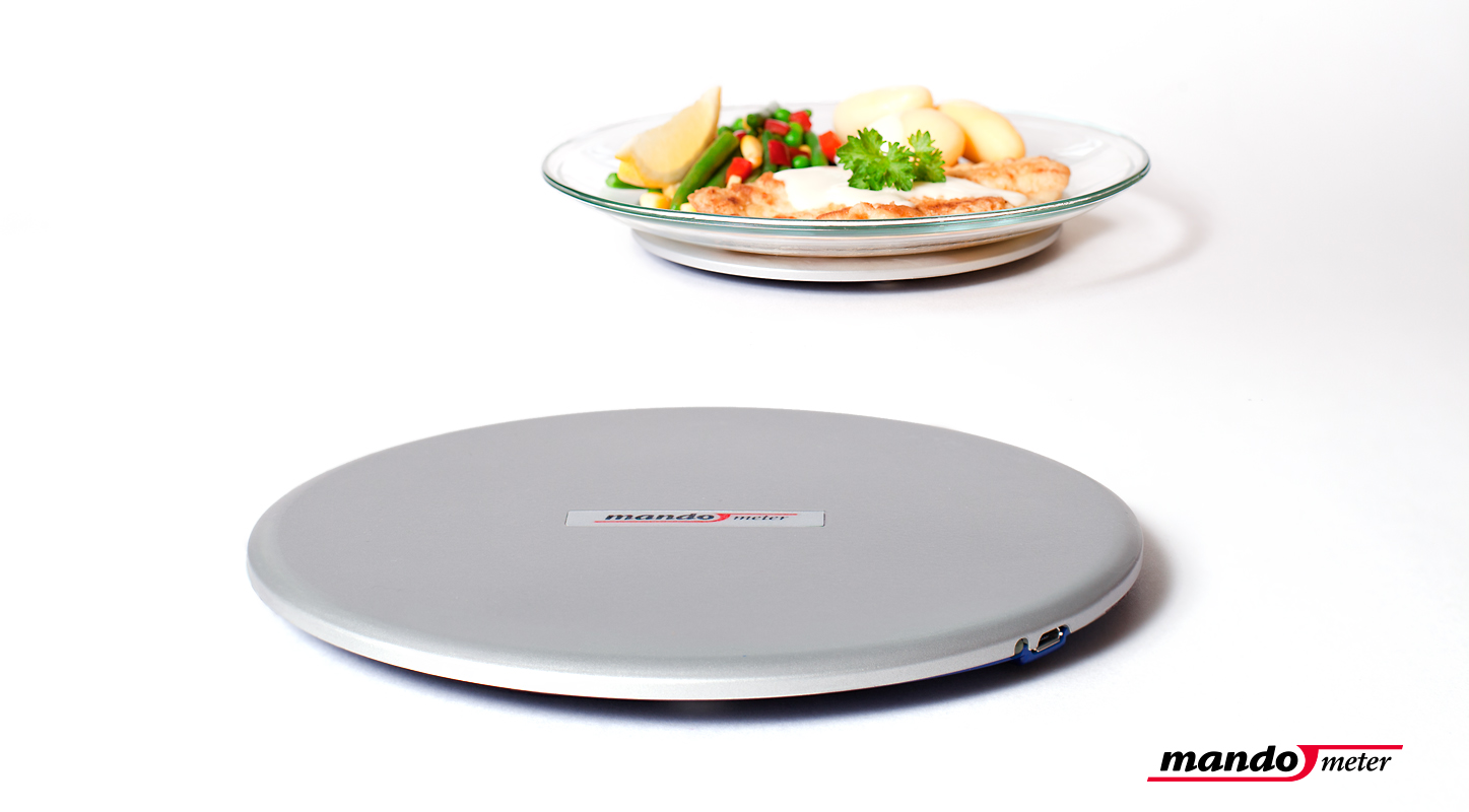 Thin scale developed by Mando that sits under the plate and communicates wirelessly with the user's smartphone, allowing feedback regarding their intake rate