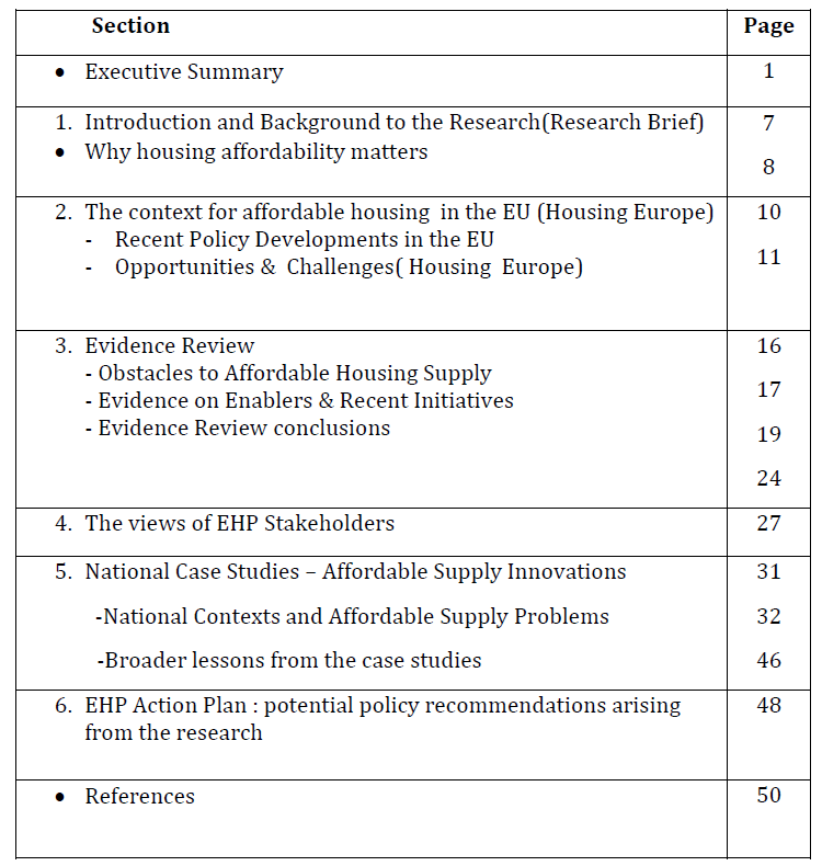 content of the research report on Overcoming Obstacles to the Funding and Delivery of Affordable Housing Supply in European States