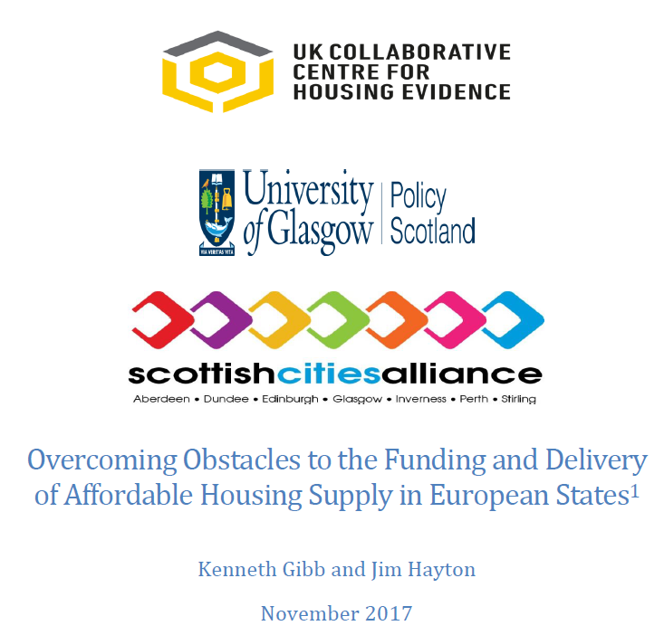 Cover of the research report on Overcoming Obstacles to the Funding and Delivery of Affordable Housing Supply in European States