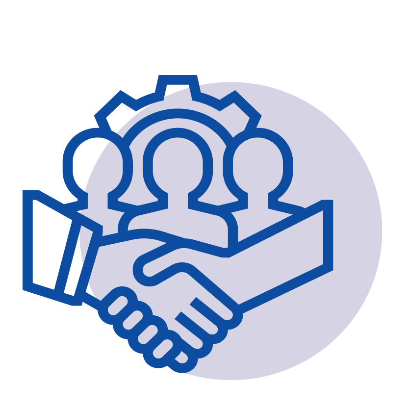3 persons and handshake icon