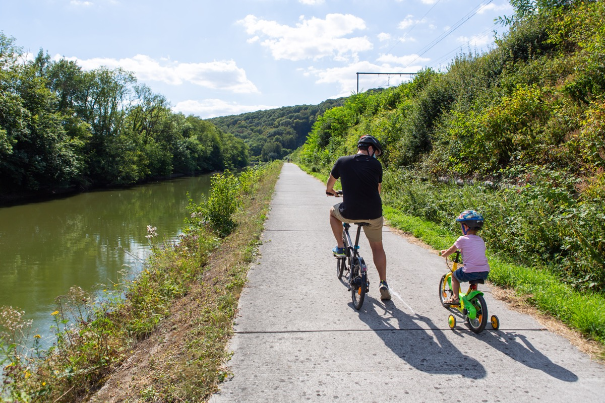 A man and his son on their bicycles alongside the river