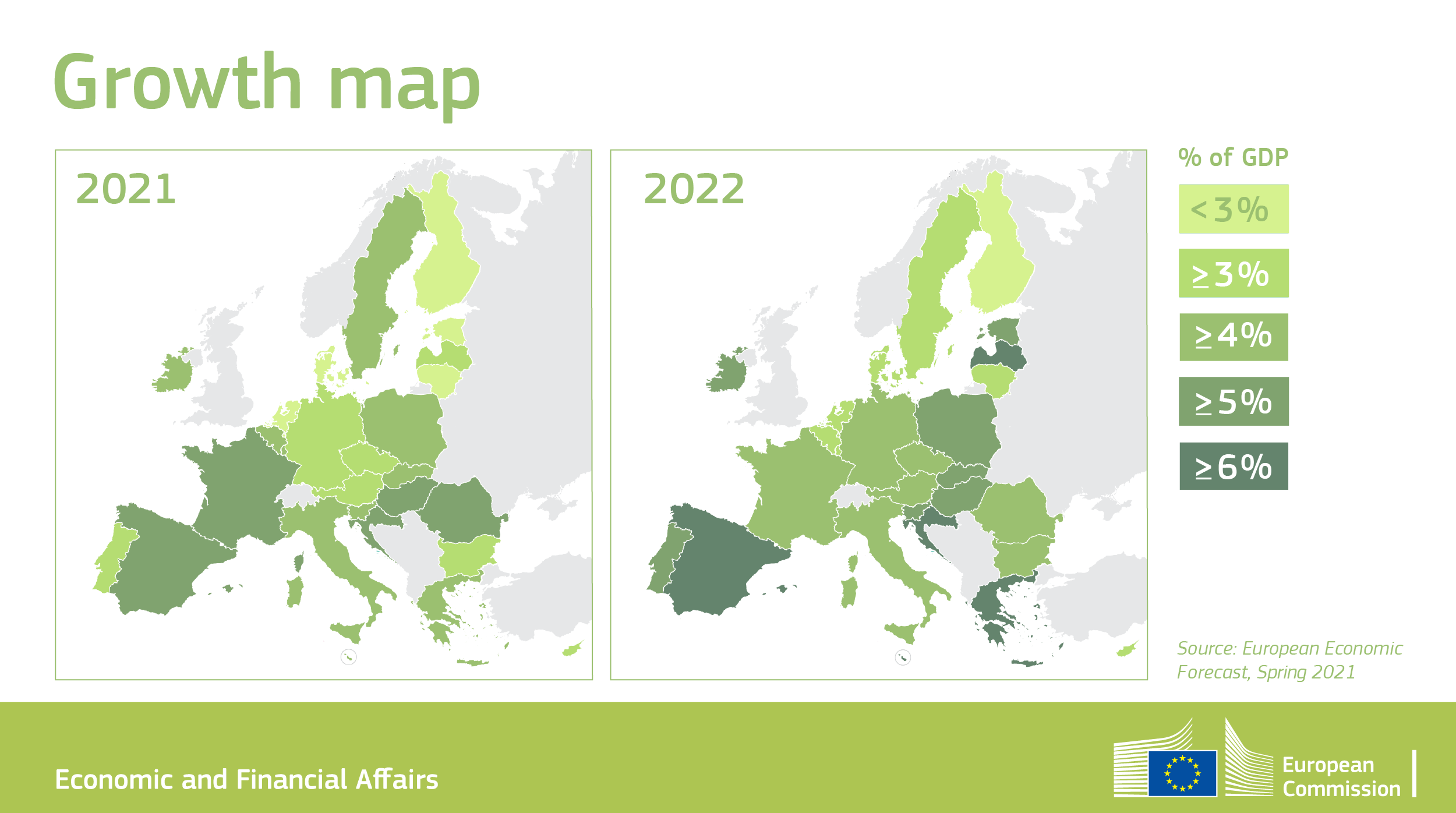 A map of Europe based on the economic forecast