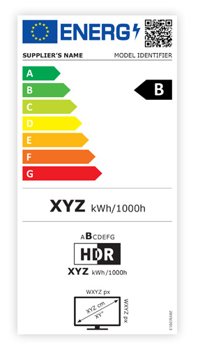 Rescaled energy label for displays