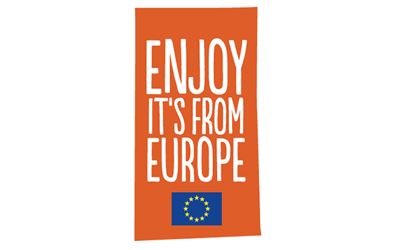 Logo enjoy it's from Europe: orange rectangle with white playful letters and the logo of the european commission in the orange rectangle
