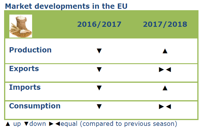 Comparison of cereal market year 2016/17 and 2017/18, production and imports went up, exports and consumption were equal to last year
