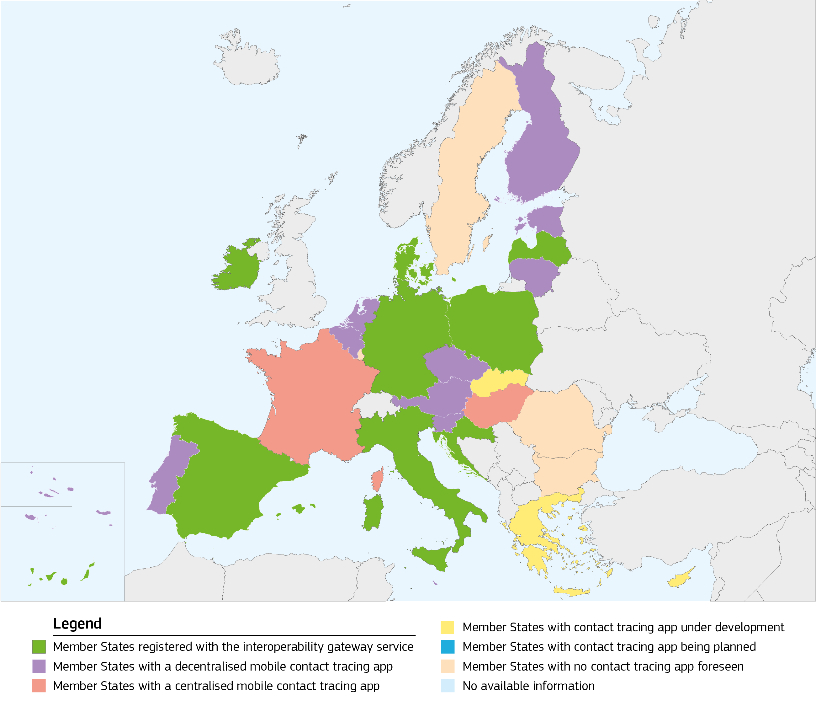 Colour coded map of Europe showing interoperable apps