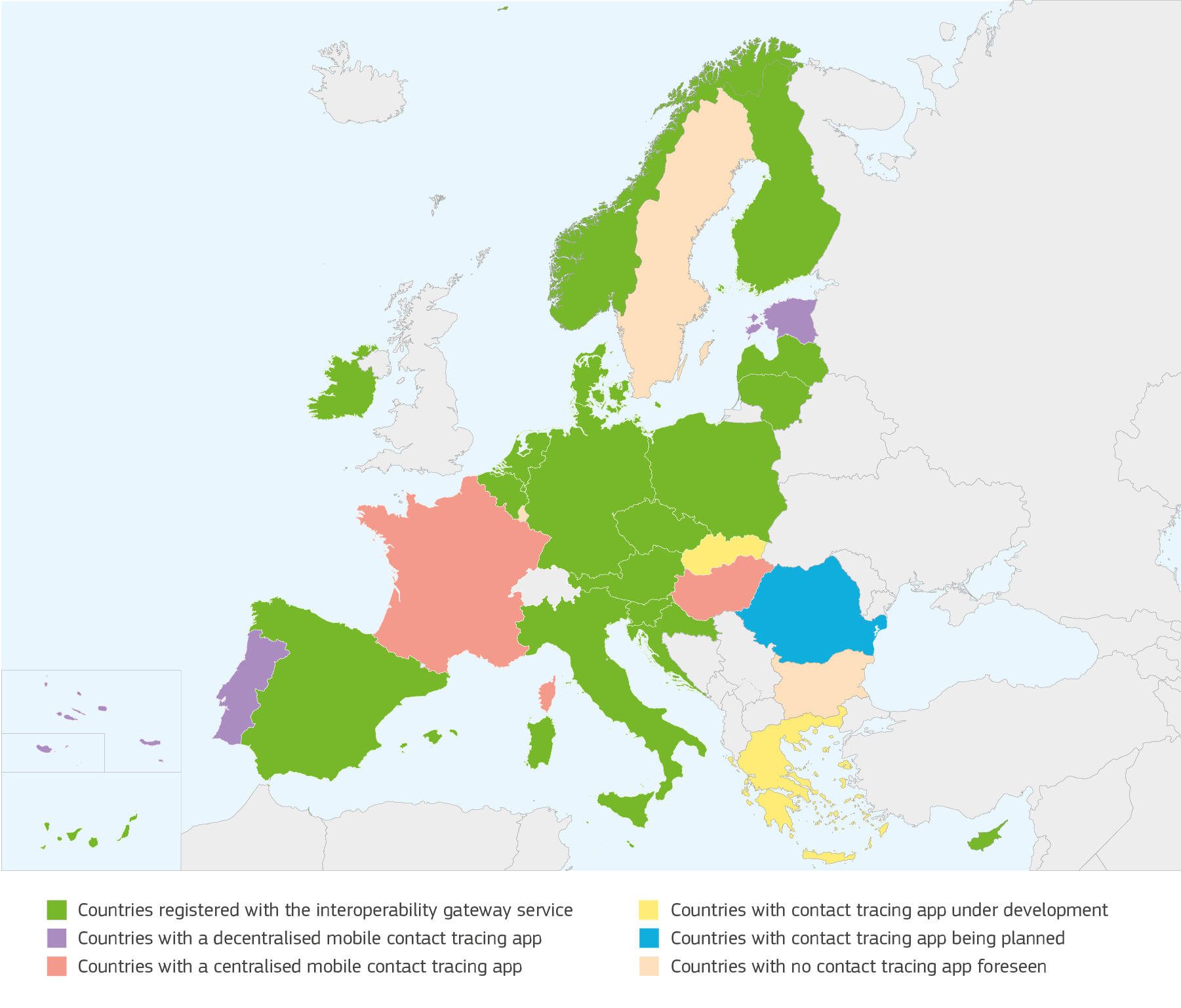 Map of the EU with information about tracing apps